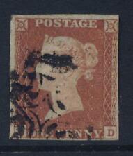 PENNY RED IMPERF Plate 19..KD..USED...4 MARGINS cv £60