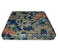 We504t Blue Damask Rose Chenille 3D Box Shape Sofa Seat Cushion Cover*Custom Siz