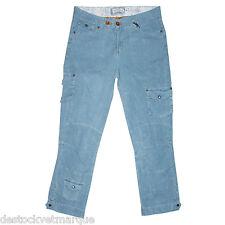 CHIPIE Pantacourt cargo velours poches treillis bleu clair femme