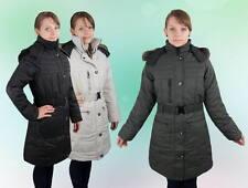 Damen Winter Mantel Jacke Reißverschluss Kapuze Fell Grau Schwarz S M L XL