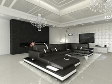 Ledersofa Design Couch Wohnlandschaft mit LED Beleuchtung MESSANA U Form schwarz
