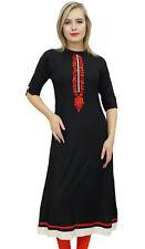 Bimba - Robe tunique Kurti noire a rayures en keta pour femmes