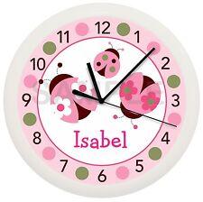 Pink Ladybug Wall Clock Nursery Decor Children'S Personalized Green