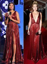 New J. Mendel Deep V Neck Lurex Chiffon Plissé Gown DRESS Super Pink 4 2