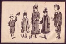 1800's Old Vintage Childrens Boys Girls Victorian Fashion Clothing Art PRINT