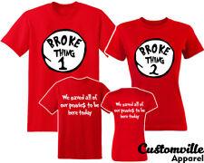 Broke thing 1, Broke thing 2 Couple Matching T-shirts. funny vacation shirts F&B