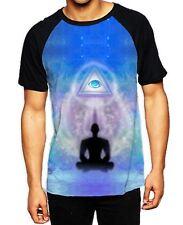 Lotus Pose Third Eye Meditation Men's All Over Baseball T Shirt - Yoga Buddhism