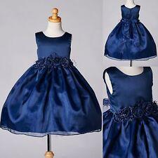 Navy Blue Organza & Satin Dress Formal Wedding Pageant Recital Toddler Party #35