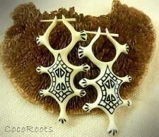 Tribal Horn Dangle Earrings Bone Organic Handmade Carved Inlay Fake Gauge Posts