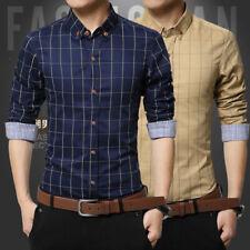 Mens Slim Fit Long Sleeve Cotton Shirt Plaid Casual Button Business Dress Shirt