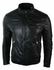 Mens Slim Fit Black Washed Real Leather Biker Jacket Zipped Padded Design Retro