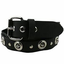 38mm Heavy Metal Stud Leather W/Strip & Dog Hooks Belt UK Handmade Punk B868