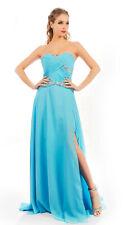 HBH Abendkleid mit Perlen verziert,Hellblau,mit der kurzen Schleppe,Größe:34-44