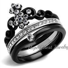 Cz Wedding Ring Set Size 5, 6 Women'S Black Stainless Steel Crown Tiara Design