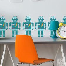Boys Robot Themed Room Decor Stencil Paint Walls Fabrics Furniture Home Decor