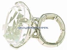 Big Bling Rock Crystal Rhinestone Ring With Stretch Band