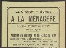 80 LE CROTOY A LA MENAGERE MAISON POIDEVIN ASSELIN PUBLICITE 1908