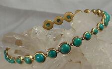 HSN MichaeLisa Jewelry Designs Bubble Turquoise Cabochon Bangle Bracelet-LARGE