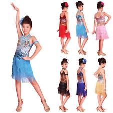 Abito balli latini e caraibici da bambina. Latin dress. Con paillettes e frange.