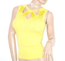 TOP CANOTTA GIALLA maglietta donna elegante giromanica sottogiacca cerimonia E80