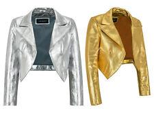 Ladies Shinny Cropped Leather Shrug Slim-fit Short Body Jacket Bolero Style 5650