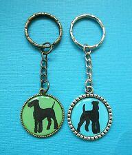 Airedale Terrier Dog Keyring Metal Handmade Bag Charm Key Chain Ring Silhouette