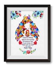 Beauty and The Beast Beauty Princess Belle Art Print Nursery Wall Decor C018