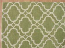 New Ryann Scroll Tile Trellis Green Modern Hand-Tufted 100% Wool Area Rug Carpet