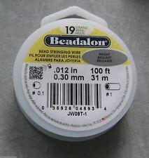 Beadalon 19 strand 100' Beading Wire CHOOSE Diam Bright Stainless Free Ship USA