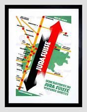TRAVEL MAP EUROPE HAMBURG MARSEILLES SWITZERLAND RAIL FRAMED PRINT B12X11419