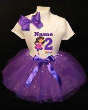 Dora the Explorer --With NAME-- 2nd Birthday Dress shirt 2pc Purple Tutu outfit