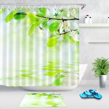 Spring Flowers Green Leave Bokeh Water Waves Shower Curtain Set Bathroom Decor