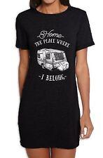 The Place Where I Belong Caravan Camping Women's T-Shirt Dress - Camper Van