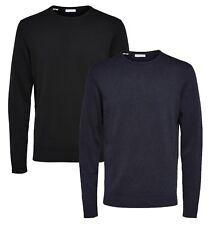 Selected Homme Mens Premium Knit Regular Cotton Silk Jumper Crew Neck Sweater
