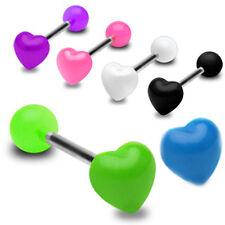 Barbell Zungen oder Ohr Piercing Schmuck Herz & Kugel aus Acryl viele Farben