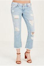 True Religion Women's Karlie Cropped Flare Jeans w/ Rips in TR Vintage
