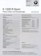 BMW K 1200 r sport liste de prix 3/07 price List moto prix 2007 Allemagne