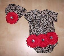 BABY GIRL/CHILD LARGE FLOWER ROMPER/HAT SET LEOPARD PHOTO PROP VARIOUS SIZES