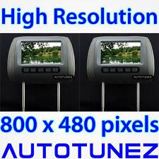 "2 x 7"" HD Pair Car Headrest Pillow Rear Monitor Display Screen For DVD Player TU"