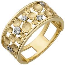 Wide Ring 5 Diamonds 585 Yellow Gold Angular Flat Bicolour Tropfen-Muster