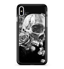 Cracking Melting Skull Face White Floral Roses Dark Sky 2D Phone Case Cover