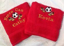 Personalizzata Cotone Egiziano Asciugamano da bagno ricamato con nome e scarpe da calcio