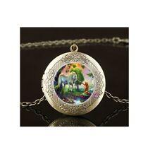 Fairy Unicorn Mermaid Photo Silver Locket Glass Cabochon Necklace Free Gift Bag