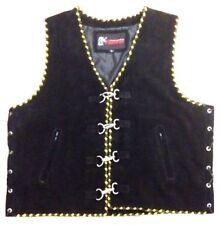 Motorcycle Leather Vest Suede Biker Motorbike Rider Black & Yellow Braided Vest