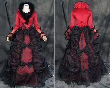 V-37 S/ M/L /XL/XXL victorien gothique lolita rouge noir Costume Costume Robe