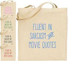 Fluent in sarcasmo Film preventivi Grandi Cotone Tote Bag T.V MACCHINA FOTOGRAFICA FILM REGALO DI NATALE