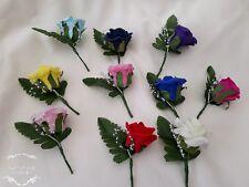 Buttonholes Wedding Flowers Groom Best man  Red/ Pink/ Purple Various colours