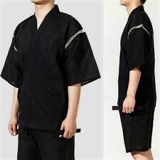 Men Japanese Jinbei Kimono Set Yukata Bathrobe Breathable Lightweight Gown