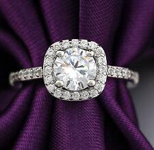 18K White GOLD GF Vintage HALO SQUARE Simulated Diamond ENGAGEMENT WEDDING RING