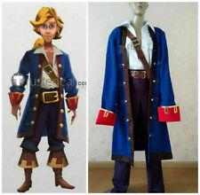 Monkey Island Guybrush Ulysses Pirate Blue Cosplay Costume @540